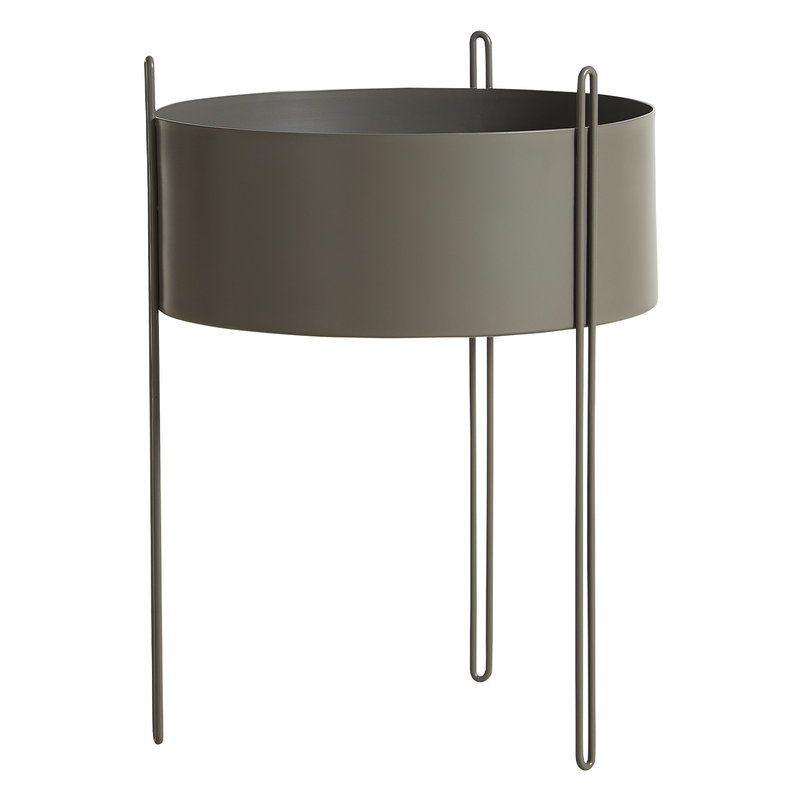Woud Pidestall planter, large, taupe