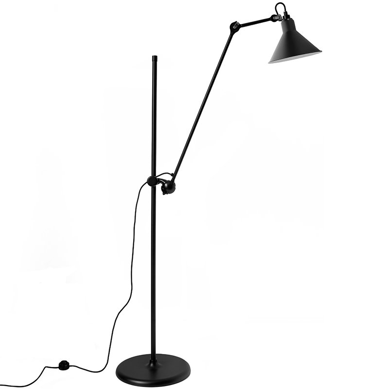 DCW éditions Lampe Gras 215 floor lamp, conic shade, black