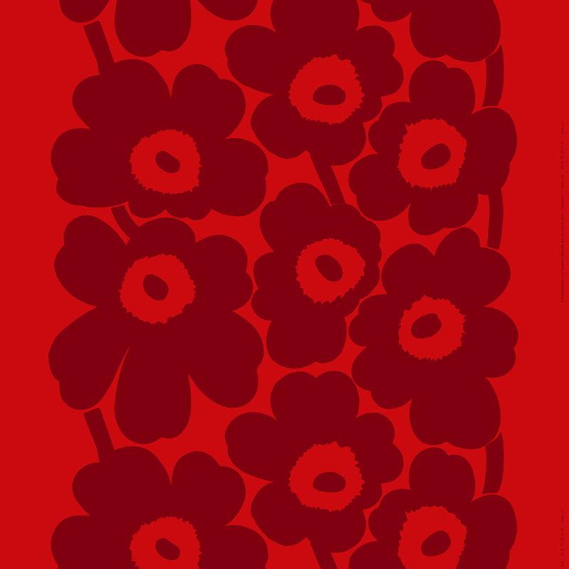 Marimekko Tessuto in cotone pesante Unikko, rosso - rosso scuro