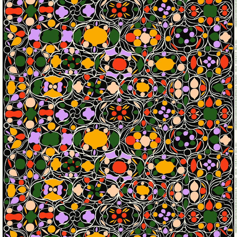 Marimekko Talvipalatsi kangas, musta-keltainen-vihreä-purppura