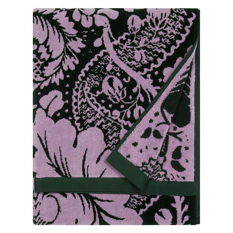 Marimekko Fandango kylpypyyhe, tummanvihreä - vaaleanpunainen