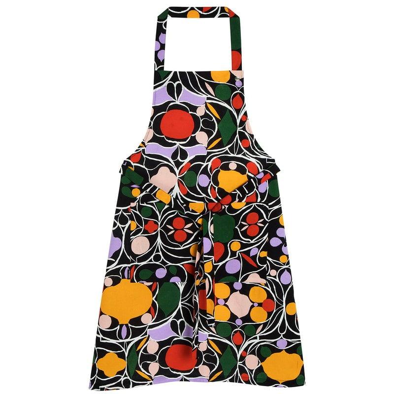 Marimekko Talvipalatsi apron, black-yellow-green-purple
