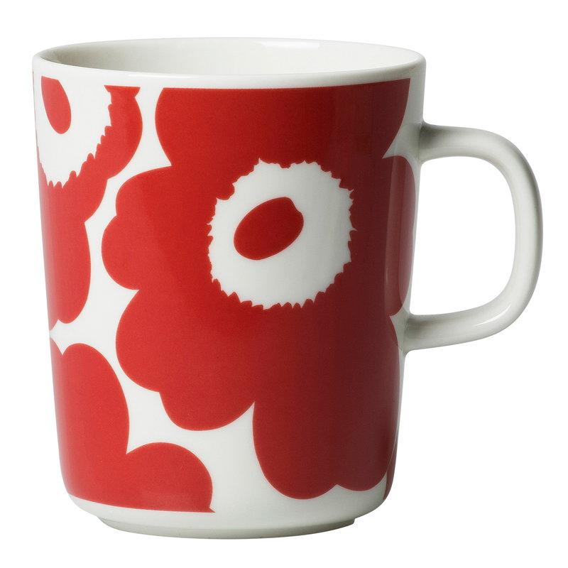 Marimekko Oiva - Unikko muki 2,5 dl, valkoinen - punainen