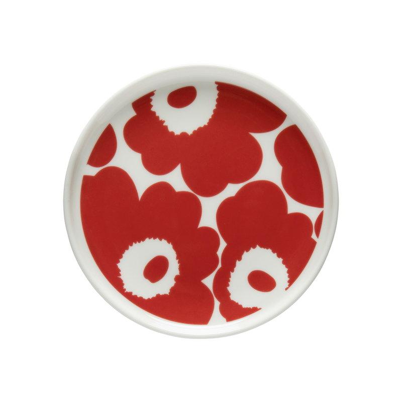 Marimekko Oiva - Unikko plate 13,5 cm, white - red