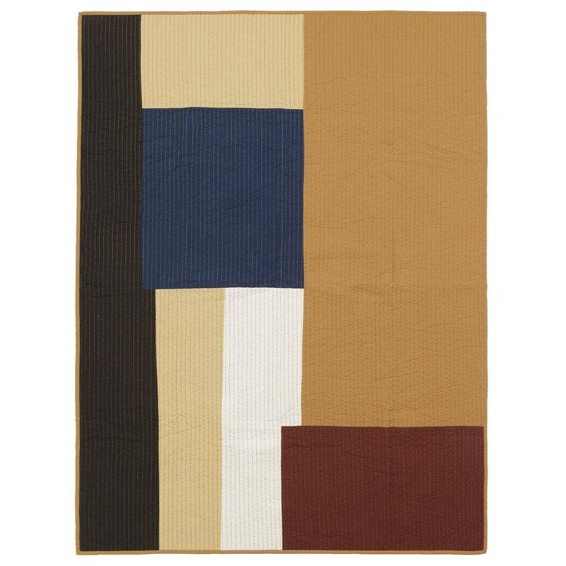 Ferm Living Shay patchwork quilt blanket, mustard