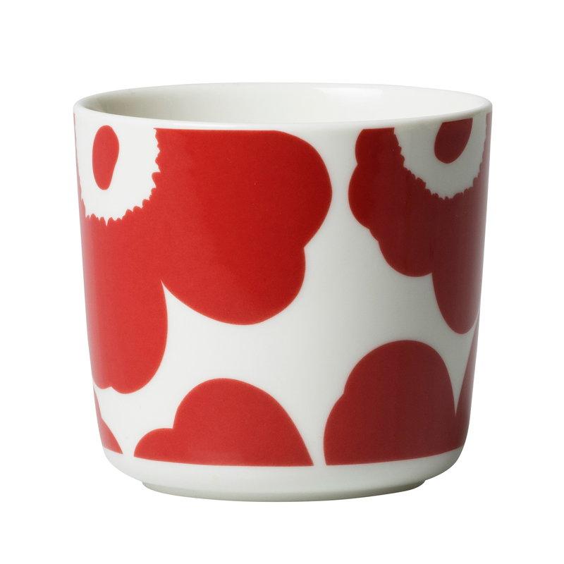Marimekko Oiva - Unikko kahvikuppi 2 dl, korvaton, 2 kpl, valkoinen - puna