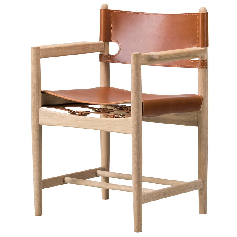Fredericia The Spanish Dining Chair con braccioli, pelle cognac