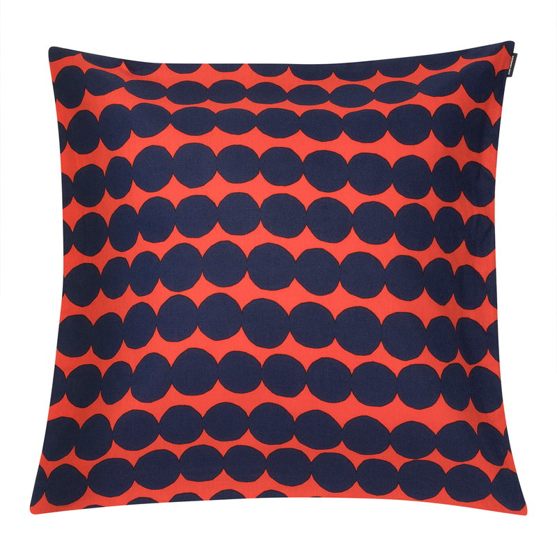 Marimekko Räsymatto cushion cover 50 x 50 cm, orange - dark blue