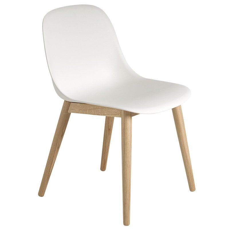 Fiber ruokapöydän tuoli, puujalat, valkoinen tammi