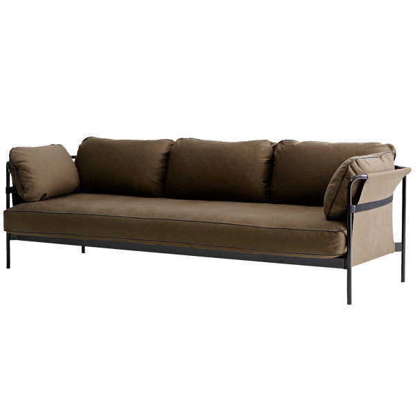 Hay Can Sofa 3 Seater, Black Army Frame, Army Canvas