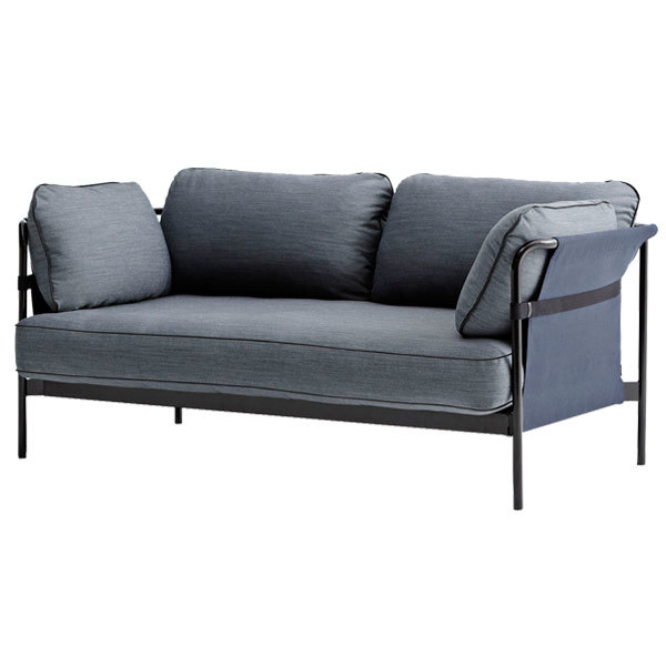 Hay Can sofa 2-seater, black-blue frame, Surface 990