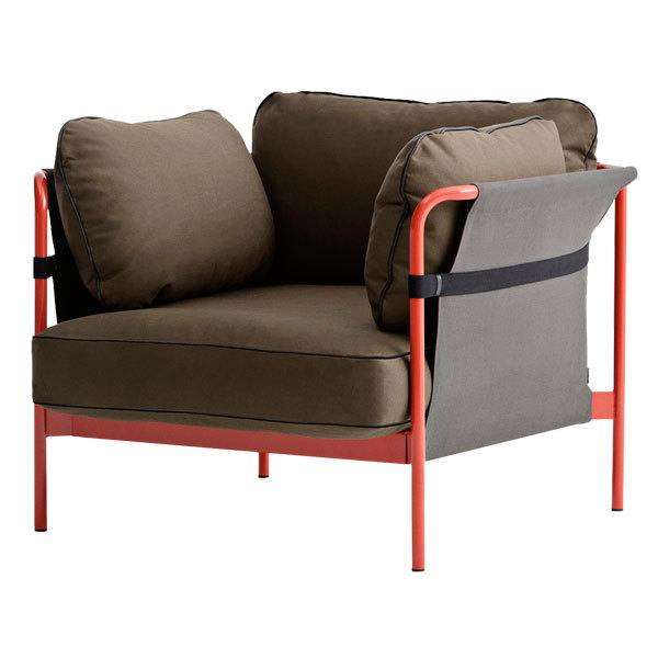 Hay Poltrona Can, struttura rosso-grigio, Army Canvas