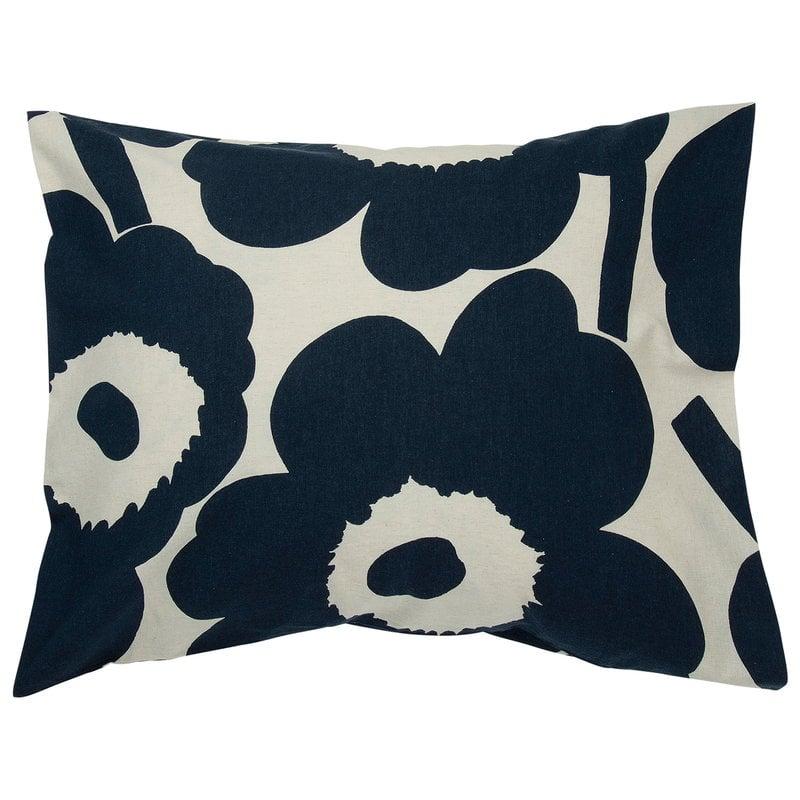 Marimekko Unikko pillow case, cotton - dark blue