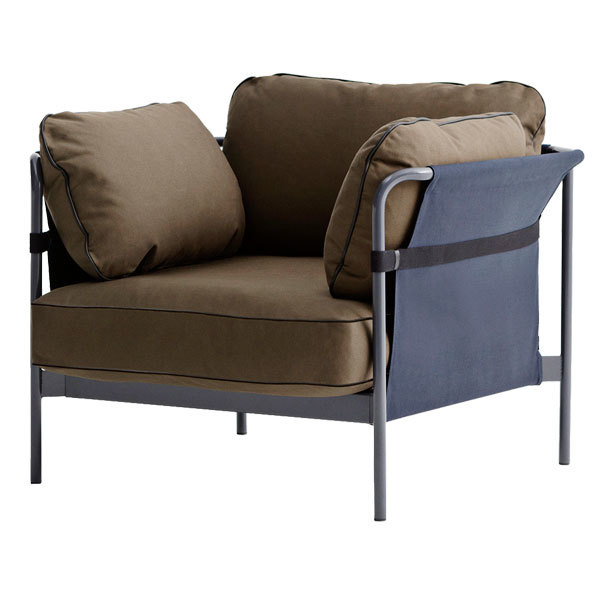 Hay Can 1-seater, grey-blue frame, Army Canvas