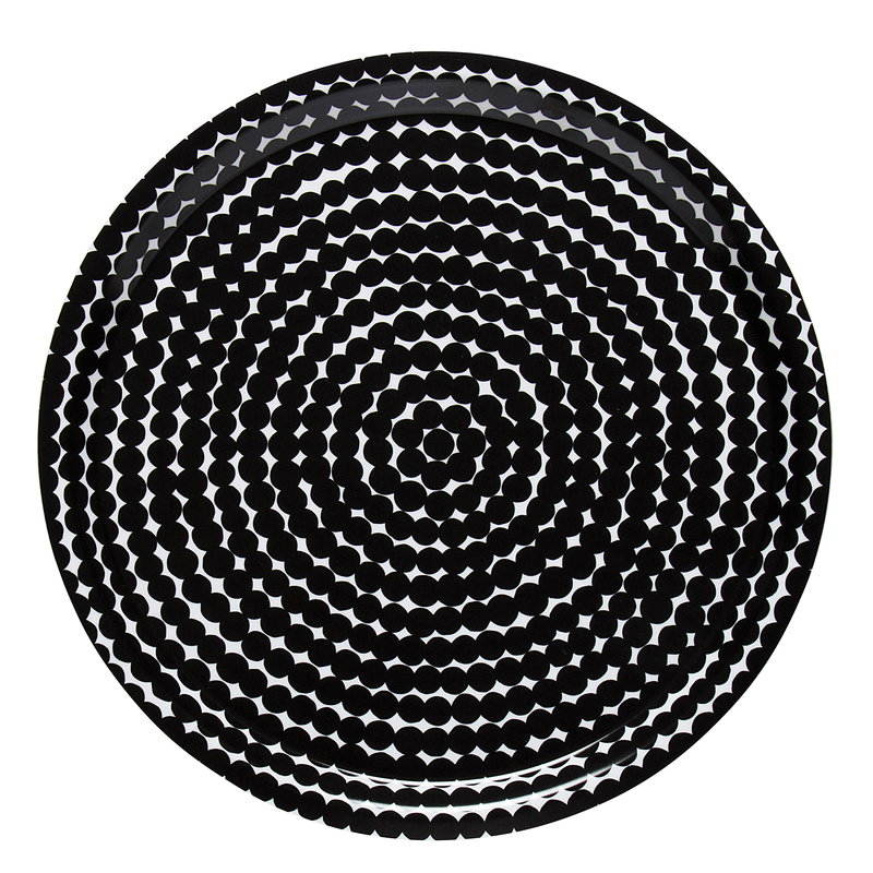 Marimekko Räsymatto tarjotin, musta-valkoinen