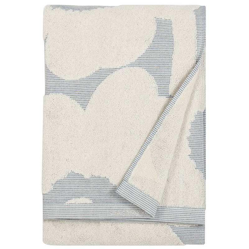 Marimekko Unikko Jacquard bath towel, off-white - blue