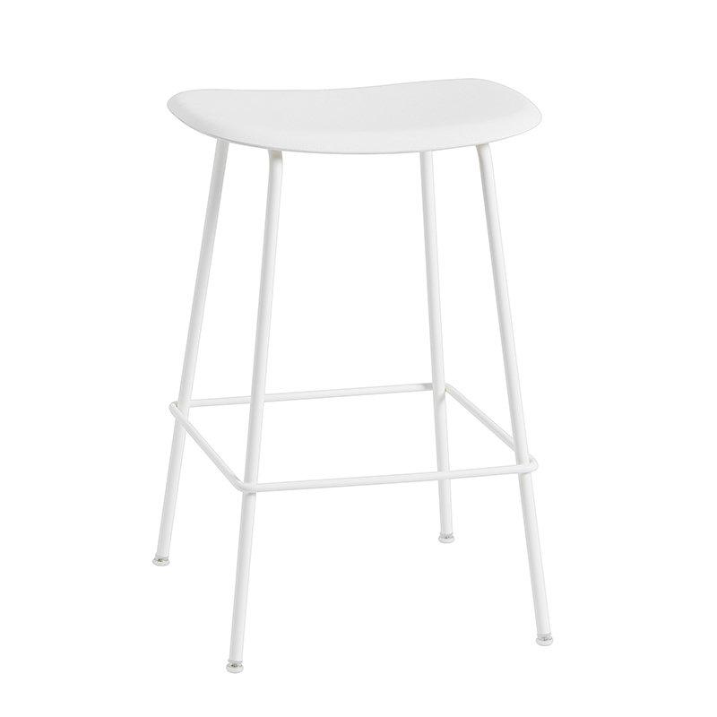 Muuto Fiber bar stool, tube base, white