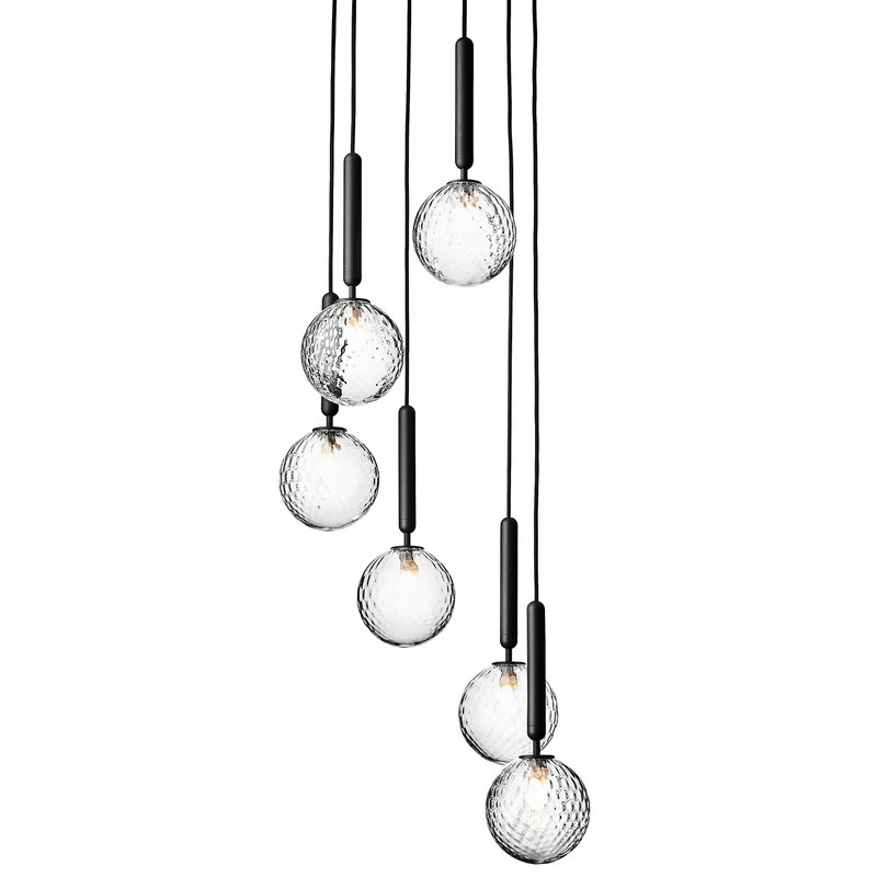 Nuura Miira 6 pendant, rock grey - clear