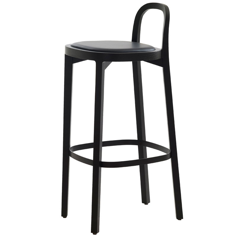 Woodnotes Siro+ bar stool 75 cm, black - black leather