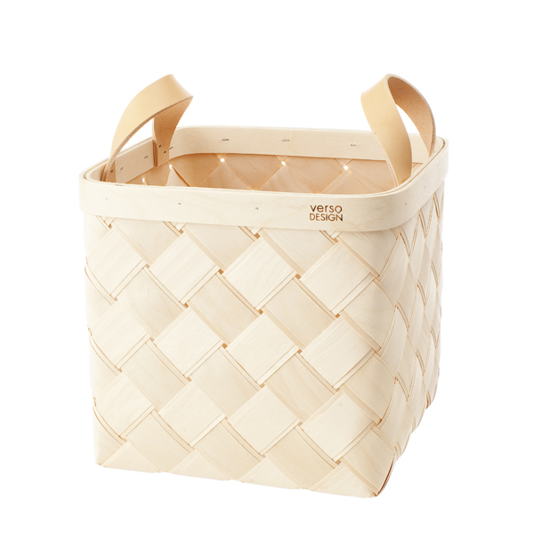 Verso Design Lastu birch basket M, leather handles