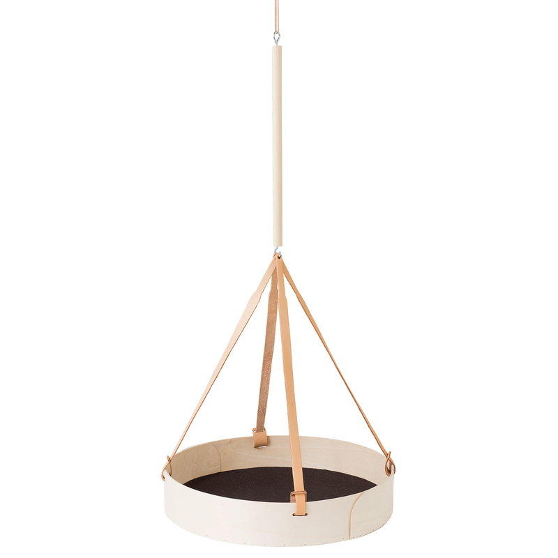 Verso Design Tuokko hanging shelf, round, birch - dark grey