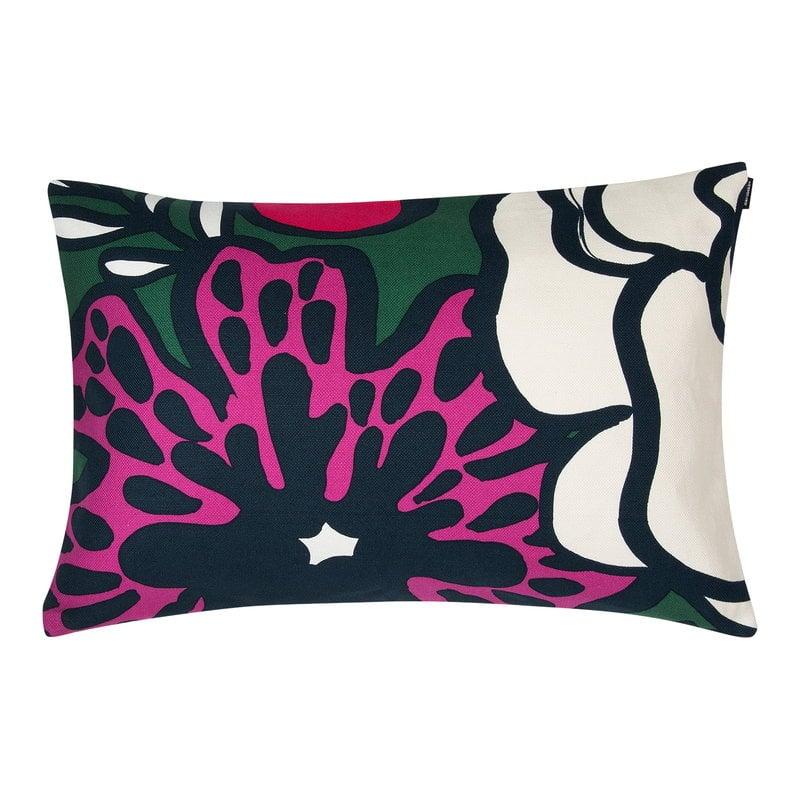 Marimekko Fodera per cuscino Eläköön elämä 40 x 60 cm, verde scuro-rosso-b