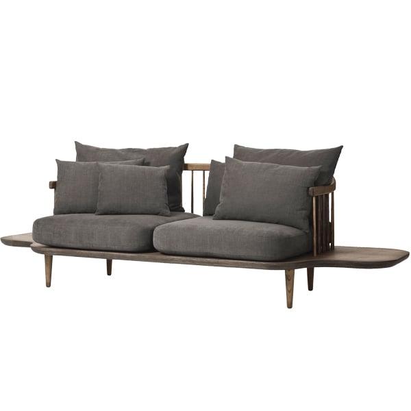 &Tradition Fly SC3 sohva sivupöydillä, savustettu tammi - Hot Madison 093