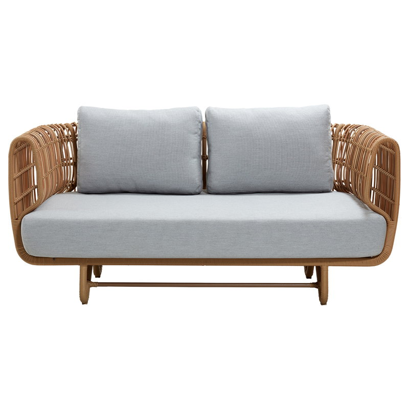Cane-line Nest 2-istuttava sohva, luonnonvärinen - vaaleanharmaa