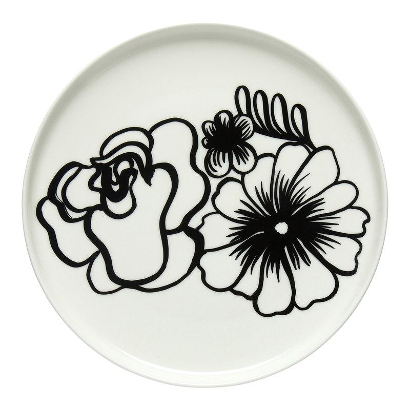 Marimekko Oiva - Eläköön elämä lautanen 20 cm, valkoinen - musta