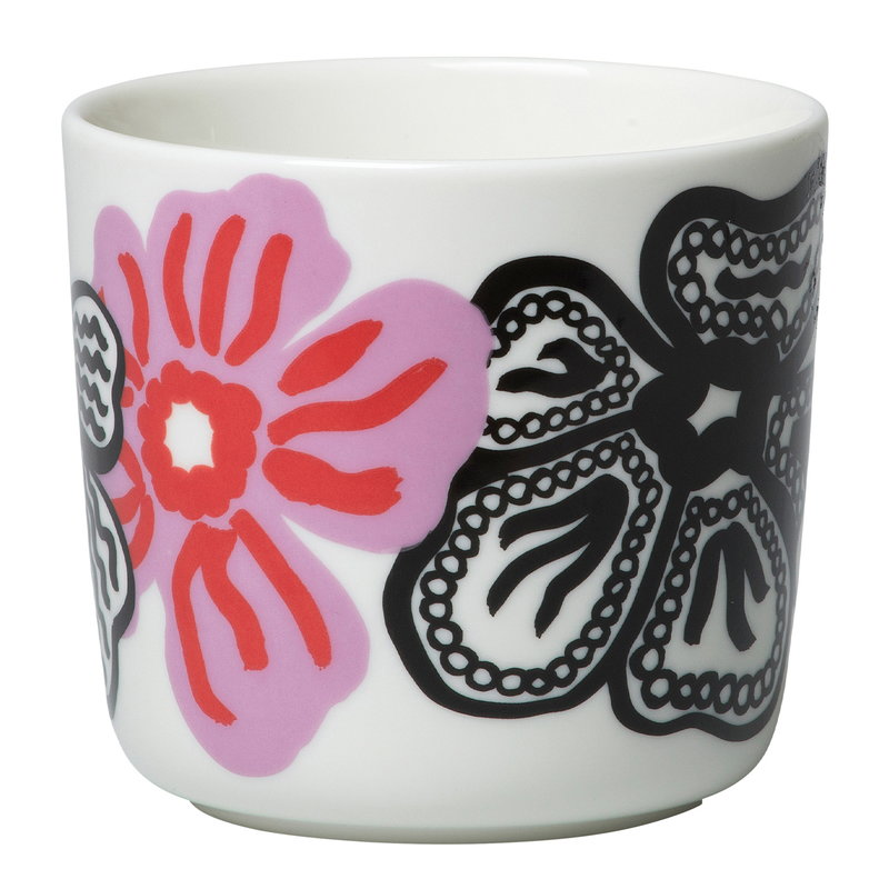 Marimekko Oiva - Kaukokaipuu coffee cup w/o handle 2 dl, 2 pcs, white-viol