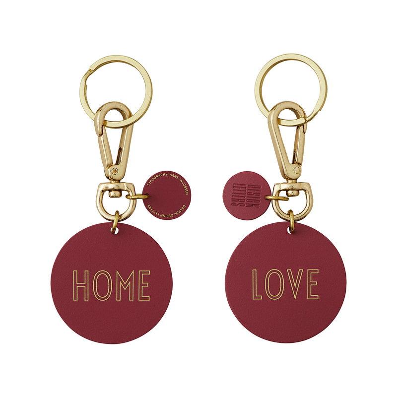 Design Letters LOVE/HOME key ring, bordeaux