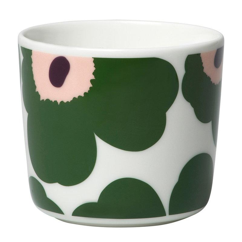 Marimekko Oiva - Unikko coffee cup 2 dl, 2 pcs, white - green - peach
