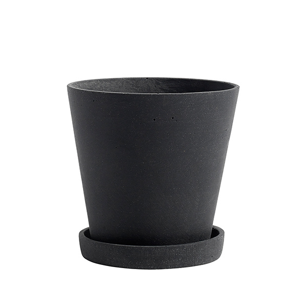 Hay Flowerpot and saucer, M, black