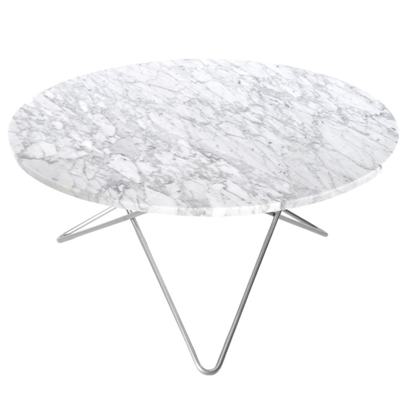 OX Denmarq O table, stainless steel - white marble