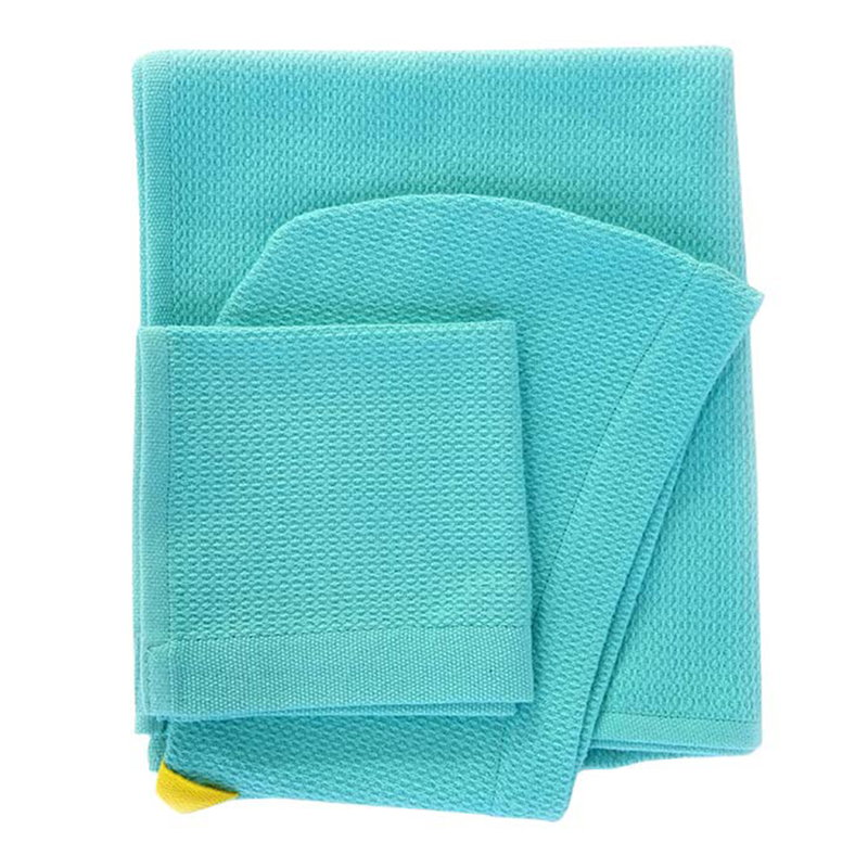 Ekobo Baby hooded towel and wash cloth set, lagoon