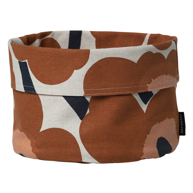 Marimekko Pieni Unikko bread basket, cotton - chestnut