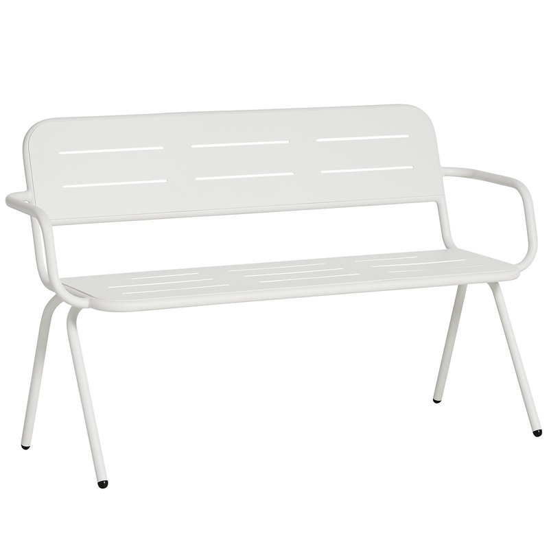 Woud Ray bench with armrests, white