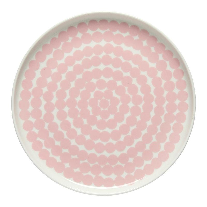 Marimekko Oiva - Siirtolapuutarha Räsymatto plate 20 cm, white-pink