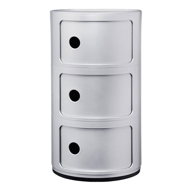 Kartell Componibili storage unit, 3 modules, silver