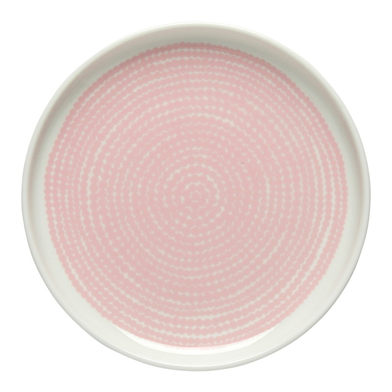 Marimekko Oiva - Siirtolapuutarha Räsymatto plate 13,5 cm, white-pink