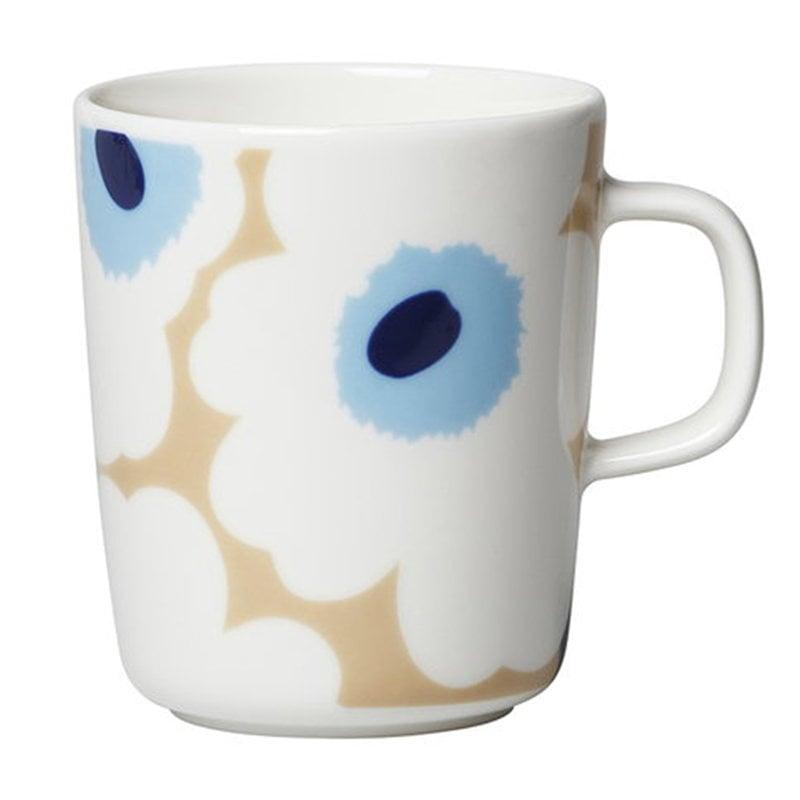 Marimekko Oiva - Unikko muki 2,5 dl, beige-valkoinen-sininen