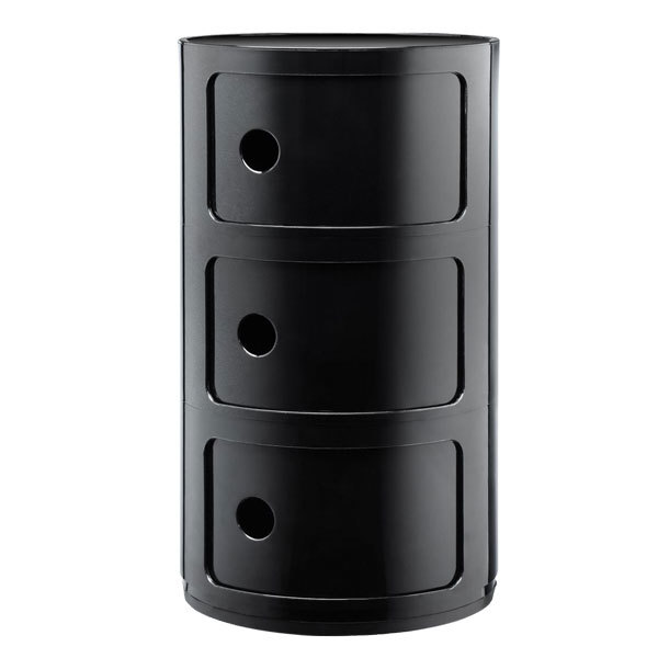 Kartell Componibili storage unit, 3 modules, black