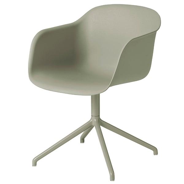 Muuto Fiber armchair, swivel base, dusty green