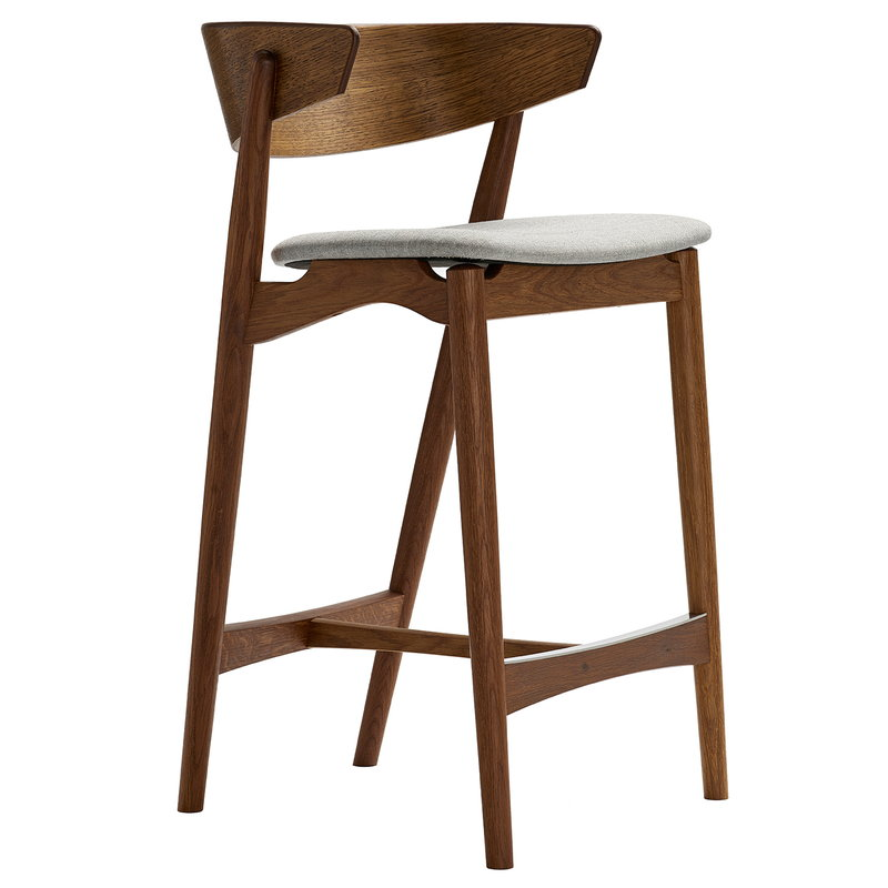 Sibast No 7 barstool, 65 cm, smoked oak - grey Remix 123
