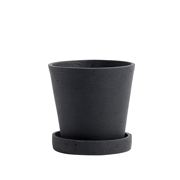 Hay Flowerpot and saucer, S, black