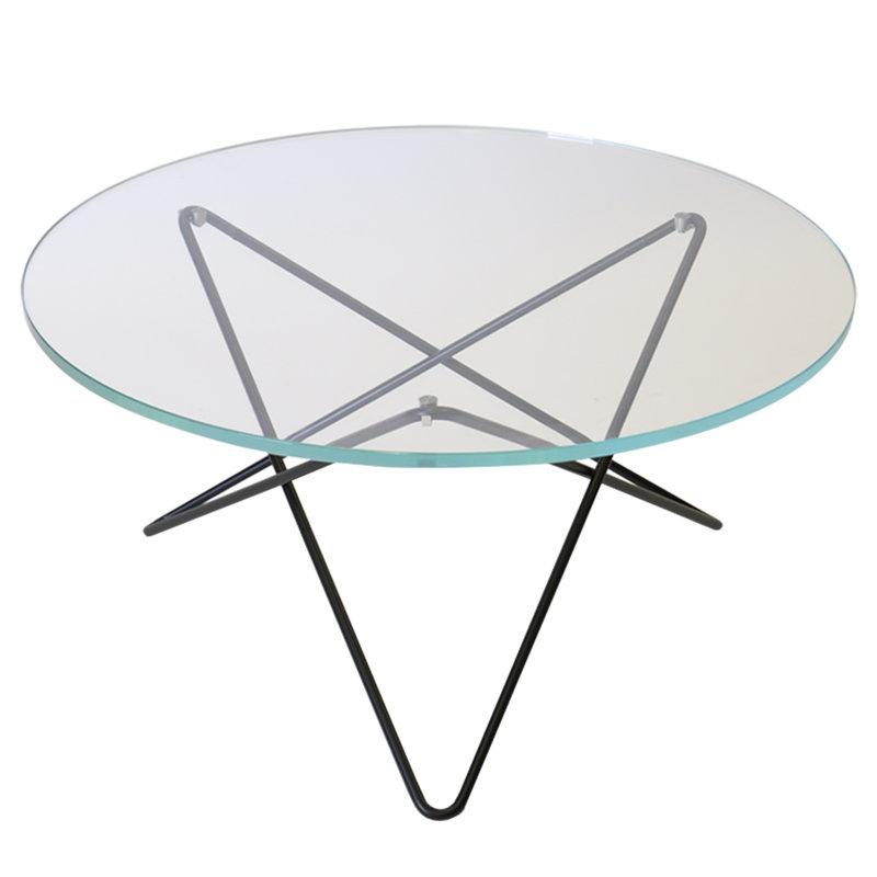 OX Denmarq O table, black - clear glass