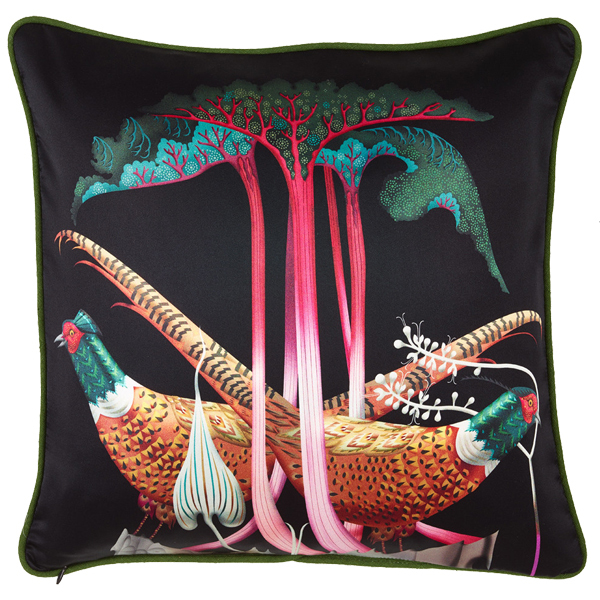 Klaus Haapaniemi Pheasants and Rhubarbs cushion cover, silk