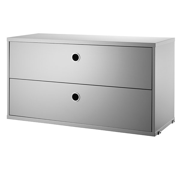 String Furniture String chest with 2 drawers, 78 x 30 cm, grey