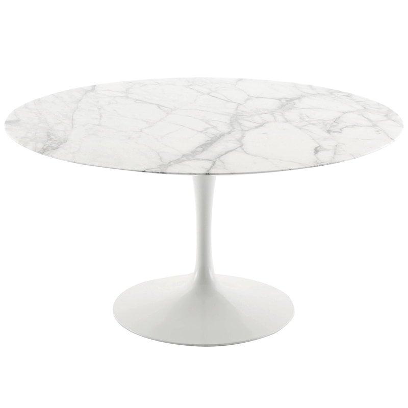 Knoll Tulppaani ruokapöytä 120 cm, valkoinen marmori