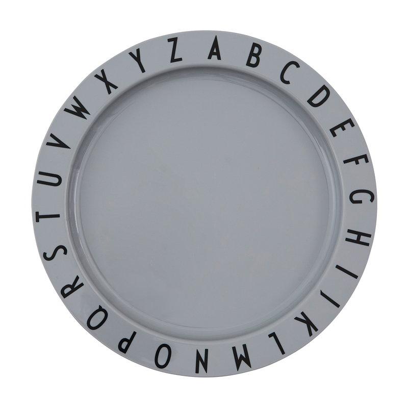 Design Letters Eat & Learn tritan plate, grey